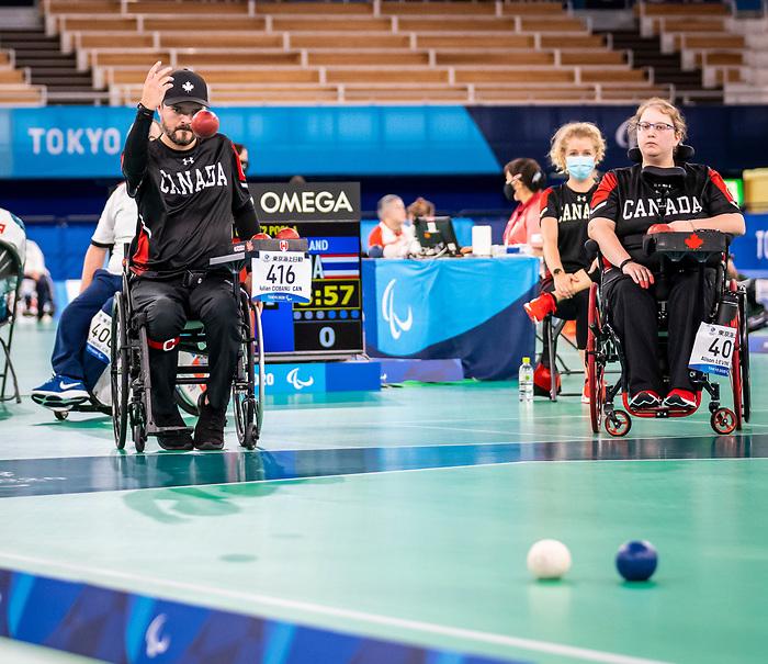 Iulian Ciobanu and Alison Levine, Tokyo 2020 - Boccia.<br /> Canada competes against Slovakia in pairs BC4 boccia // Le Canada affronte la Slovaquie en paires de boccia BC4. 09/03/2021.