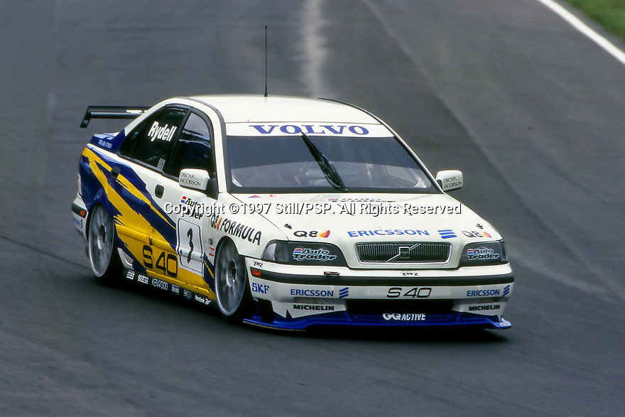 Brands Hatch Round of the 1997 British Touring Car Championship. #3 Rickard Rydell (S). Volvo S40 Racing. Volvo S40.