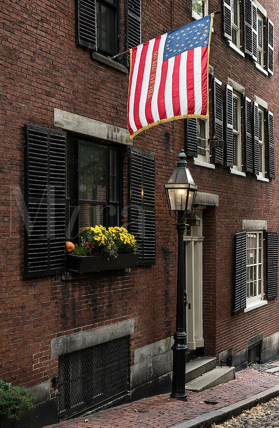 Historic street in the Beacon Hill neighborhood, Boston, Massachusetts, USA
