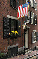 Historic street in the Beacon Hill neighborhood, Boston, Massachusetts, USA