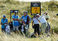 150719 | The 148th Open - Monday Practice<br /> <br /> Dustin Johnson of USA  tees off on the 7th hole during  during practice for the 148th Open Championship at Royal Portrush Golf Club, County Antrim, Northern Ireland. Photo by John Dickson - DICKSONDIGITAL