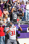 TCU Horned Frogs wide receiver Josh Doctson (9) and Texas Tech Red Raiders defensive back Justis Nelson (31) in action during the game between the Texas Tech Red Raiders and the TCU Horned Frogs at the Amon G. Carter Stadium in Fort Worth, Texas. TCU defeats Texas Tech 82 to 27.