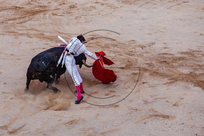 "europe,spain,navarra,Pamplona,matador Andrés Roca Rey on ""suerte de capote"""