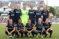 Cary, NC - Sunday October 08, 2017: North Carolina starters. Front row (from left): Jaelene Hinkle, Taylor Smith, Debinha, Denise O'Sullivan, McCall Zerboni; Back row (from left): Abby Dahlkemper, Samantha Mewis, Katelyn Rowland, Abby Erceg, Lynn Williams, and Ashley Hatch prior to a National Women's Soccer League (NWSL) semifinals match between the North Carolina Courage and the Chicago Red Stars at Sahlen's Stadium at WakeMed Soccer Park. The North Carolina Courage won the game 1-0.