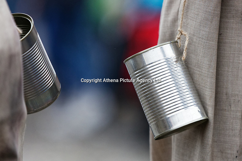 Pictured: Tin cans worn by actors performing at The Man Engine show at the Waterfront Museum in Swansea, Wales, UK. Thursday 12 April 2018<br /> Re: The largest mechanical puppet in Britain starts its tour across south Wales.<br /> Man Engine, a mechanical miner which measures 36ft (11m) tall, will appear at the Waterfront Museum in Swansea, Wales, animated by a dozen handlers.<br /> The giant is visiting areas linked to the nation's industrial past.