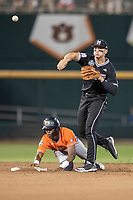 Mississippi State Bulldogs second baseman Justin Foscue (17) turns a double play during Game 4 of the NCAA College World Series against the Auburn Tigers on June 16, 2019 at TD Ameritrade Park in Omaha, Nebraska. Mississippi State defeated Auburn 5-4. (Andrew Woolley/Four Seam Images)