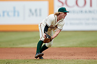Greensboro Grasshoppers 1b\ Aaron Shackelford (44) fields a ground ball during the game against the Rome Braves at First National Bank Field on May 16, 2021 in Greensboro, North Carolina. (Brian Westerholt/Four Seam Images)