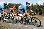 Marc Soler and Alejandro Valverde (ESP) Movistar Team alongside race leader Red Jersey Richard Carapaz (ECU) Ineos Grenadiers during Stage 8 of the Vuelta Espana 2020 running 160km from Logroño to Alto de Moncalvillo, Spain. 28th October 2020.   <br /> Picture: Luis Angel Gomez/PhotoSportGomez | Cyclefile<br /> <br /> All photos usage must carry mandatory copyright credit (© Cyclefile | Luis Angel Gomez/PhotoSportGomez)