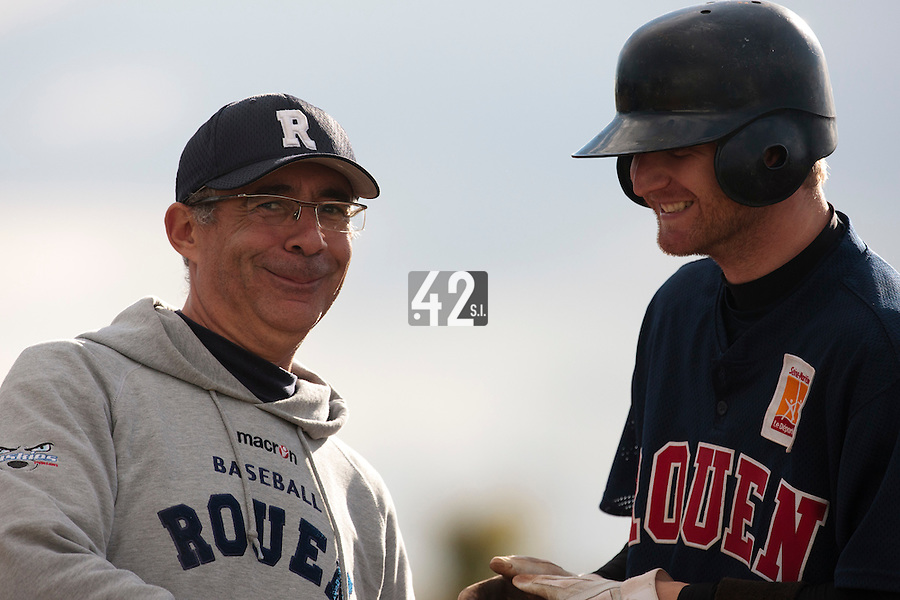 16 October 2010: Assistant coach Francois Colombier of Rouen poses next to Aaron Hornostaj during Rouen 16-4 win over Savigny, during game 1 of the French championship finals, in Savigny sur Orge, France.