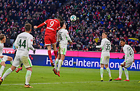 21.01.2018,  Football 1.Liga 2017/2018, 19. match day, FC Bayern Muenchen - SV Werder Bremen, in Allianz-Arena Muenchen. headergoal  2:1 of  Robert Lewandowski (li, FC Bayern Muenchen). *** Local Caption *** © pixathlon<br /> <br /> +++ NED + SUI out !!! +++<br /> Contact: +49-40-22 63 02 60 , info@pixathlon.de