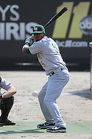 "Lynchburg Hillcats DH Edward Salcedo #5 ""standing in"" during a bullpen session before a game against the Carolina Mudcats at Five County Stadium on April 26, 2012 in Zebulon, North Carolina. Carolina defeated Lynchburg by the score of 8-5. (Robert Gurganus/Four Seam Images)"