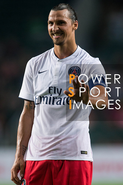 Zlatan Ibrahimovic of Paris Saint-Germain looks on during Kitchee SC vs Paris Saint-Germain during the The Meeting of Champions on July 29, 2014 at the Hong Kong stadium in Hong Kong, China.  Photo by Aitor Alcalde / Power Sport Images