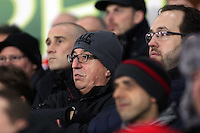 SWANSEA, WALES - MARCH 16: Swansea supporters<br /> Re: Premier League match between Swansea City and Liverpool at the Liberty Stadium on March 16, 2015 in Swansea, Wales