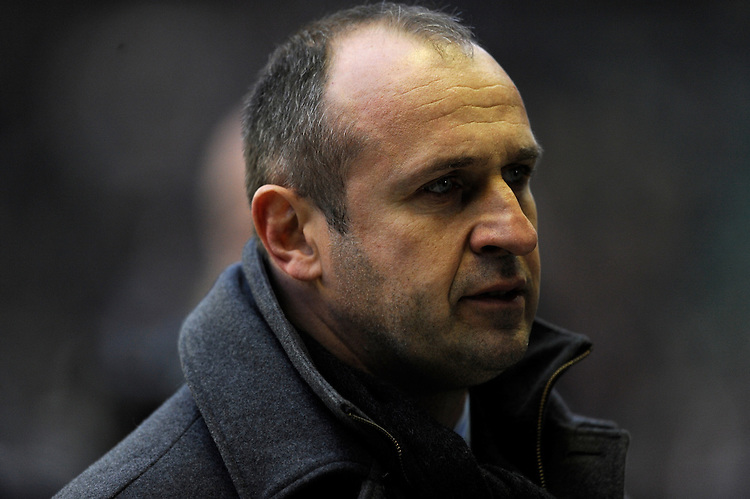 Philippe Saint-Andre, France Head Coach, looks dejected during the RBS 6 Nations match between England and France at Twickenham on Saturday 23rd February 2013 (Photo by Rob Munro)