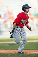 Alex Perez (8) of the Elizabethton Twins hustles down the first base line against the Kingsport Mets at Hunter Wright Stadium on July 9, 2015 in Kingsport, Tennessee.  The Twins defeated the Mets 9-7 in 11 innings. (Brian Westerholt/Four Seam Images)