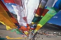 Raising of Tibetan prayer flag pole for Saga Dawa, Buddha's birthday.