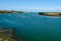 Morlaix river with anchored boat, Bay of Morlaix, Atlantic Ocean, North of Brittany, North of France, Europe