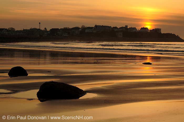 Sunrise over Boar's Head at Hampton Beach, New Hampshire USA. Hampton Beach is a popular vacation spot during the summer months.