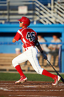 Batavia Muckdogs infielder Breyvic Valera #46 during a NY-Penn League game against the Mahoning Valley Scrappers at Dwyer Stadium on August 22, 2012 in Batavia, New York.  Batavia defeated Mahoning Valley 3-2.  (Mike Janes/Four Seam Images)