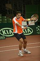 7-2-06, Netherlands, Amsterdam, Daviscup, first round, Netherlands-Russia, training , jesse Huta Galung