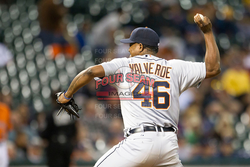 Detroit Tigers CAPNAME AAA during the MLB baseball game against the Houston Astros on May 3, 2013 at Minute Maid Park in Houston, Texas. Detroit defeated Houston 4-3. (Andrew Woolley/Four Seam Images).