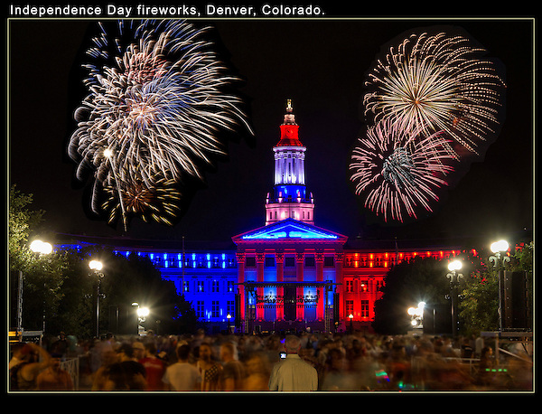 Take night photos, even if  they might be blurry. Try resting you camera on something. <br /> Fireworks over Denver Courthouse and Civic Center Park, Colorado.