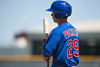 Chicago Cubs left fielder Carlos Pacheco (29) during an Extended Spring Training game against the Los Angeles Angels at Sloan Park on April 14, 2018 in Mesa, Arizona. (Zachary Lucy/Four Seam Images)