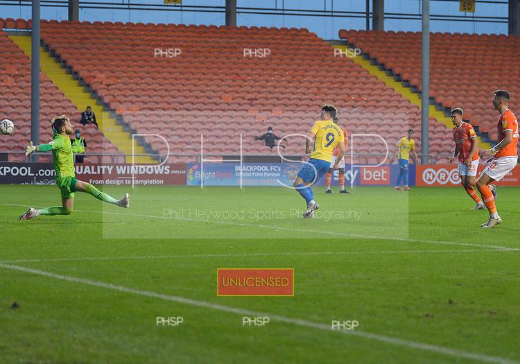 24/08/2021 Carabao Cup 2nd Round Blackpool v Sunderland <br /> <br /> Nathan Broadhead goal ruled offside