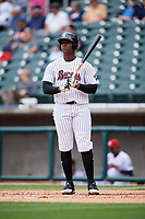 Birmingham Barons designated hitter Keon Barnum (11) at bat during a game against the Jacksonville Jumbo Shrimp on April 24, 2017 at Regions Field in Birmingham, Alabama.  Jacksonville defeated Birmingham 4-1.  (Mike Janes/Four Seam Images)