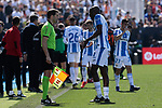 CD Leganes's Allan Romeo Nyom have words with the referee during La Liga match, Round 25 between CD Leganes and Valencia CF at Butarque Stadium in Leganes, Spain. February 24, 2019. (ALTERPHOTOS/A. Perez Meca)