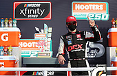 HOMESTEAD, FLORIDA - JUNE 13: Harrison Burton, driver of the #20 DEX Imaging Toyota, celebrates in Victory Lane after winning the NASCAR Xfinity Series Hooters 250 at Homestead-Miami Speedway on June 13, 2020 in Homestead, Florida. (Photo by Chris Graythen/Getty Images)