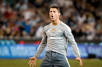 Melbourne, 24 July 2015 - Cristiano Ronaldo of Real Madrid celebrates his goal in game three of the International Champions Cup match between Manchester City and Real Madrid at the Melbourne Cricket Ground, Australia. Real Madrid def City 4-1. (Photo Sydney Low / AsteriskImages.com)