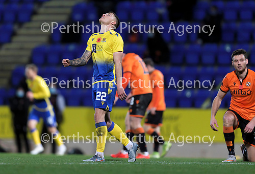 St Johnstone v Dundee United…10.11.20   McDiarmid Park      BetFred Cup<br />Callum Hendry reacts after shooting wide<br />Picture by Graeme Hart.<br />Copyright Perthshire Picture Agency<br />Tel: 01738 623350  Mobile: 07990 594431
