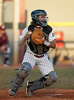 Braden River Pirates catcher Brady Jernigan (4) throws down to second base during a game against the Venice Indians on February 25, 2021 at Braden River High School in Bradenton, Florida. (Mike Janes/Four Seam Images)