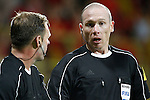 Referee Lee Evans (r) with his line referee during FIFA World Cup 2018 Qualifying Round match. September 5,2016.(ALTERPHOTOS/Acero)