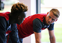 (L-R) Tammy Abraham and Stephen Kingsley exercise in the gym during the Swansea City Training at The Fairwood Training Ground, Swansea, Wales, UK. Thursday 10 August 2017