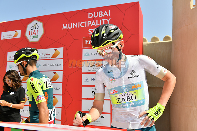 White Jersey holder Veljko Stojnic at sign on before Stage 2 the Dubai Municipality Stage of the UAE Tour 2020 running 168km from Hatta to Hatta Dam, Dubai. 24th February 2020.<br />