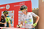 White Jersey holder Veljko Stojnic at sign on before Stage 2 the Dubai Municipality Stage of the UAE Tour 2020 running 168km from Hatta to Hatta Dam, Dubai. 24th February 2020.<br /> Picture: LaPresse/Massimo Paolone   Cyclefile<br /> <br /> All photos usage must carry mandatory copyright credit (© Cyclefile   LaPresse/Massimo Paolone)
