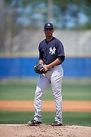 New York Yankees starting pitcher Albert Abreu (14) gets ready to deliver a pitch during a minor league Spring Training game against the Toronto Blue Jays on March 30, 2017 at the Englebert Complex in Dunedin, Florida.  (Mike Janes/Four Seam Images)