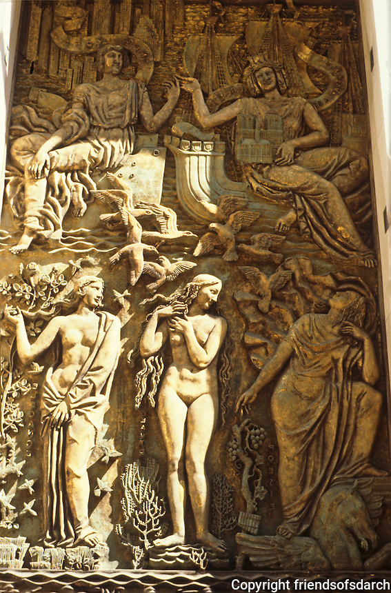 New York City: Rockefeller Center, Maison Francaise. Bas-relief by Alfred Janniot, 1934. Paris and New York above Poetry, Beauty, Elegance.