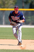 Minnesota Twins outfielder / first baseman Max Kepler #27 during practice before a minor league spring training game against the Baltimore Orioles at the Buck O'Neil Complex on March 19, 2012 in Sarasota, Florida.  (Mike Janes/Four Seam Images)