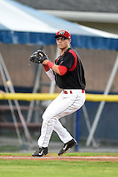 Batavia Muckdogs shortstop Aaron Blanton (11) throws to first during a game against the Mahoning Valley Scrappers on August 22, 2014 at Dwyer Stadium in Batavia, New York.  Mahoning Valley defeated Batavia 2-1.  (Mike Janes/Four Seam Images)