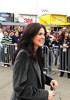 Feb 22, 2009; Fontana, CA, USA; Television/movie actress Angie Harmon tours the garage prior to the Auto Club 500 at Auto Club Speedway. Mandatory Credit: Mark J. Rebilas-
