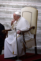 Pope Francis during of a weekly general audience in the Paul VI Hall at the Vatican on October 7, 2020,<br /> (Photo by Stefano Spaziani)