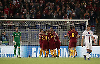 Football Soccer: UEFA Champions League  AS Roma vs PFC CSKA Mosca Stadio Olimpico Rome, Italy, October 23, 2018. <br /> Roma's Edin Dzeko celebrates after scoring his second goal with his teammates during the Uefa Champions League football soccer match between AS Roma and PFC CSKA Mosca at Rome's Olympic stadium, October 23, 2018.<br /> UPDATE IMAGES PRESS/Isabella Bonotto