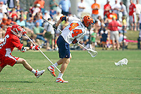 UVa lacrosse player Mike Timms against Maryland at the University of Virginia in Charlottesville, Virginia. Photo/Andrew Shurtleff.