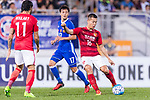 Guangzhou Midfielder Huang Bowen (R) in action during the AFC Champions League 2017 Group G match between Eastern SC (HKG) vs Guangzhou Evergrande FC (CHN) at the Mongkok Stadium on 25 April 2017, in Hong Kong, China. Photo by Chung Yan Man / Power Sport Images