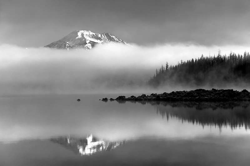 South Sister Mountain reflected in Elk Lake. Central Oregon