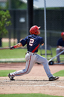 GCL Nationals shortstop Jesus Morales (2) follows through on a swing during a game against the GCL Astros on August 6, 2018 at FITTEAM Ballpark of the Palm Beaches in West Palm Beach, Florida.  GCL Astros defeated GCL Nationals 3-0.  (Mike Janes/Four Seam Images)