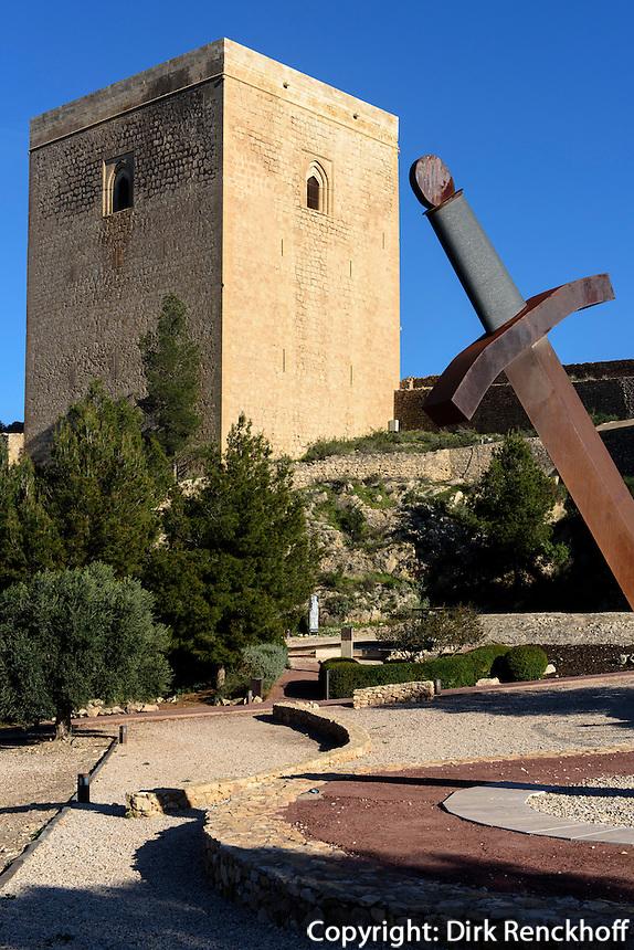 Sonnenuhr im Castillo de Lorca,  Provinz Murcia, Spanien, Europa
